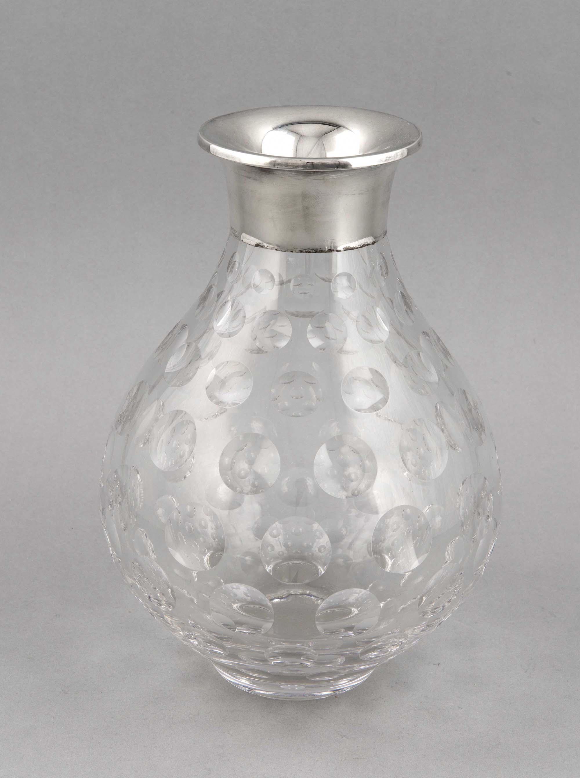 Kristallvase mit Silberhalsmontage, Deutsch, 20