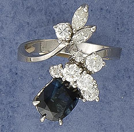 Saphir-Brillant-Diamant-Ring