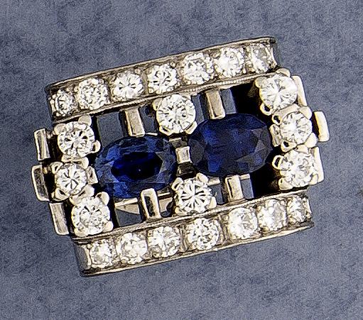 Brillant-Saphir-Ring WG 585/000 mit 2 oval fac
