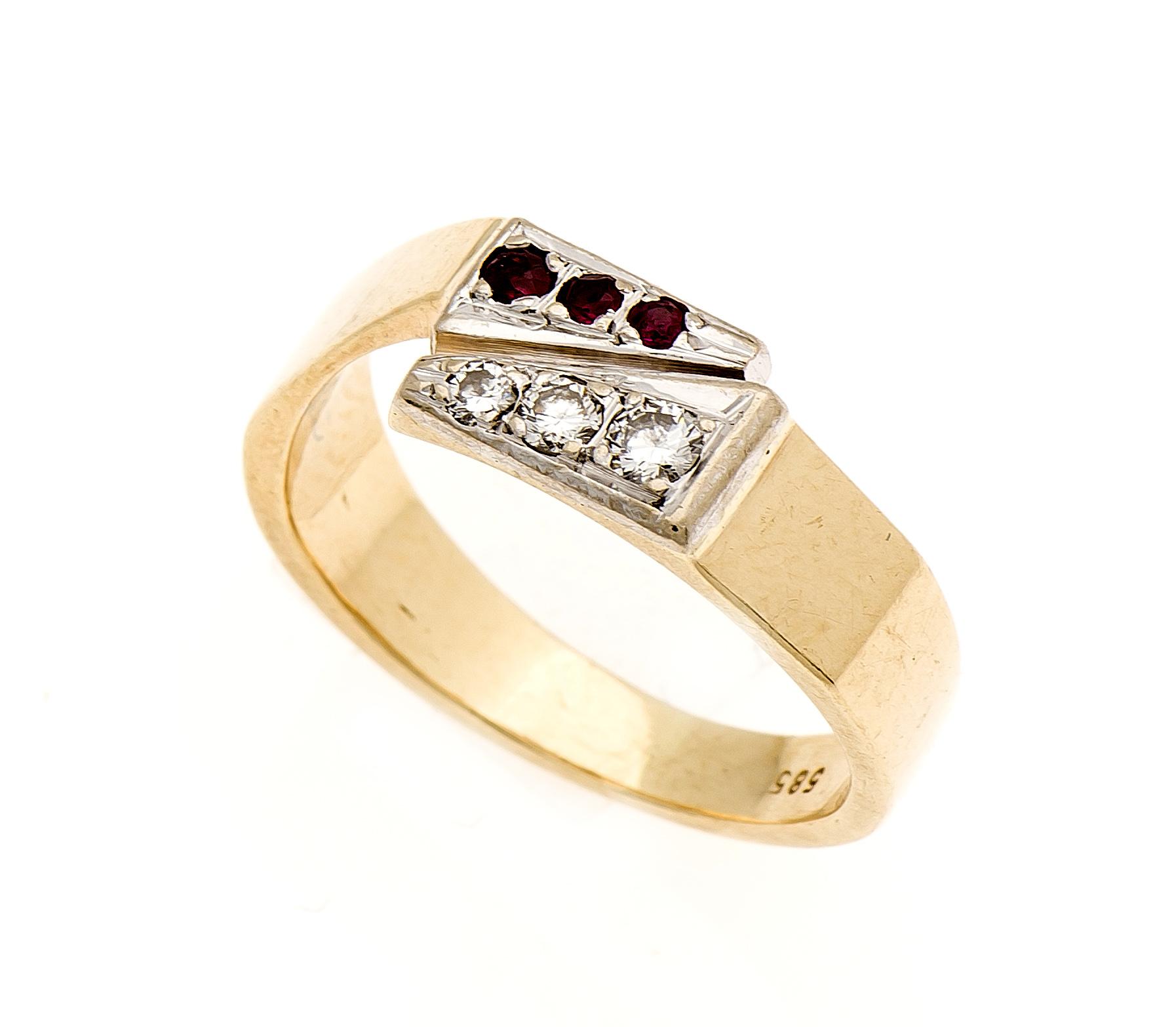Rubin-Brilli-Ring GG/WG 585/000 mit 3 rund fac