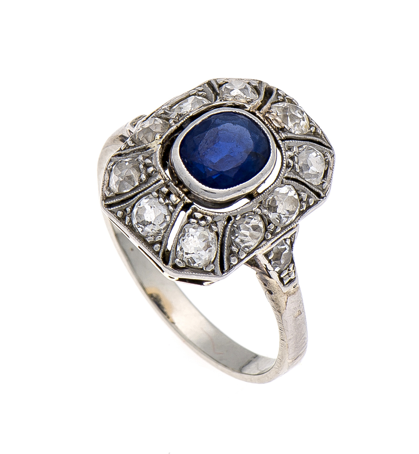 Art Deco Saphir-Altschliff-Brillant-Diamant-Ring