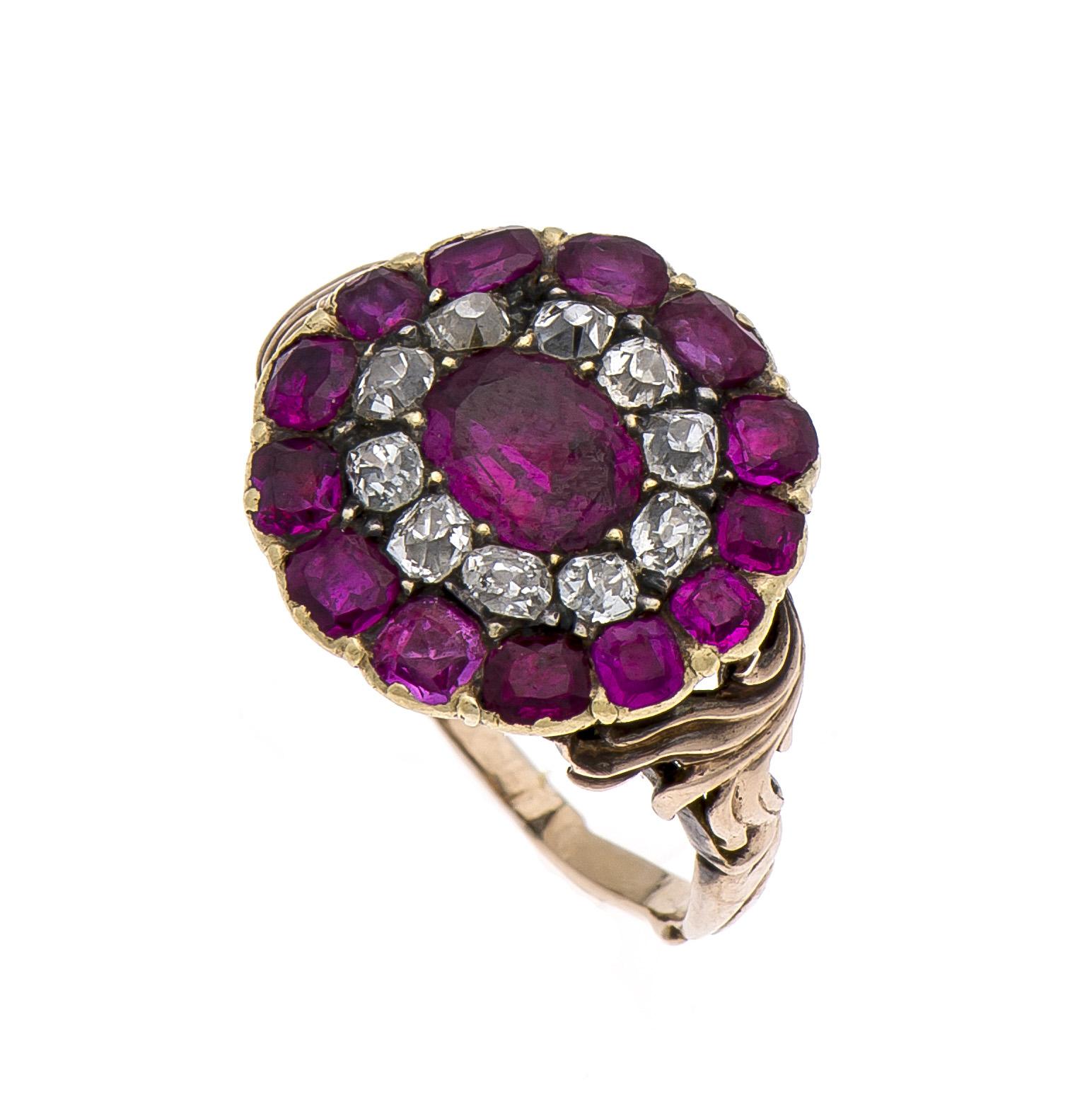 Altschliff-Diamanten-Rubin-Ring RG 585/000 ungest