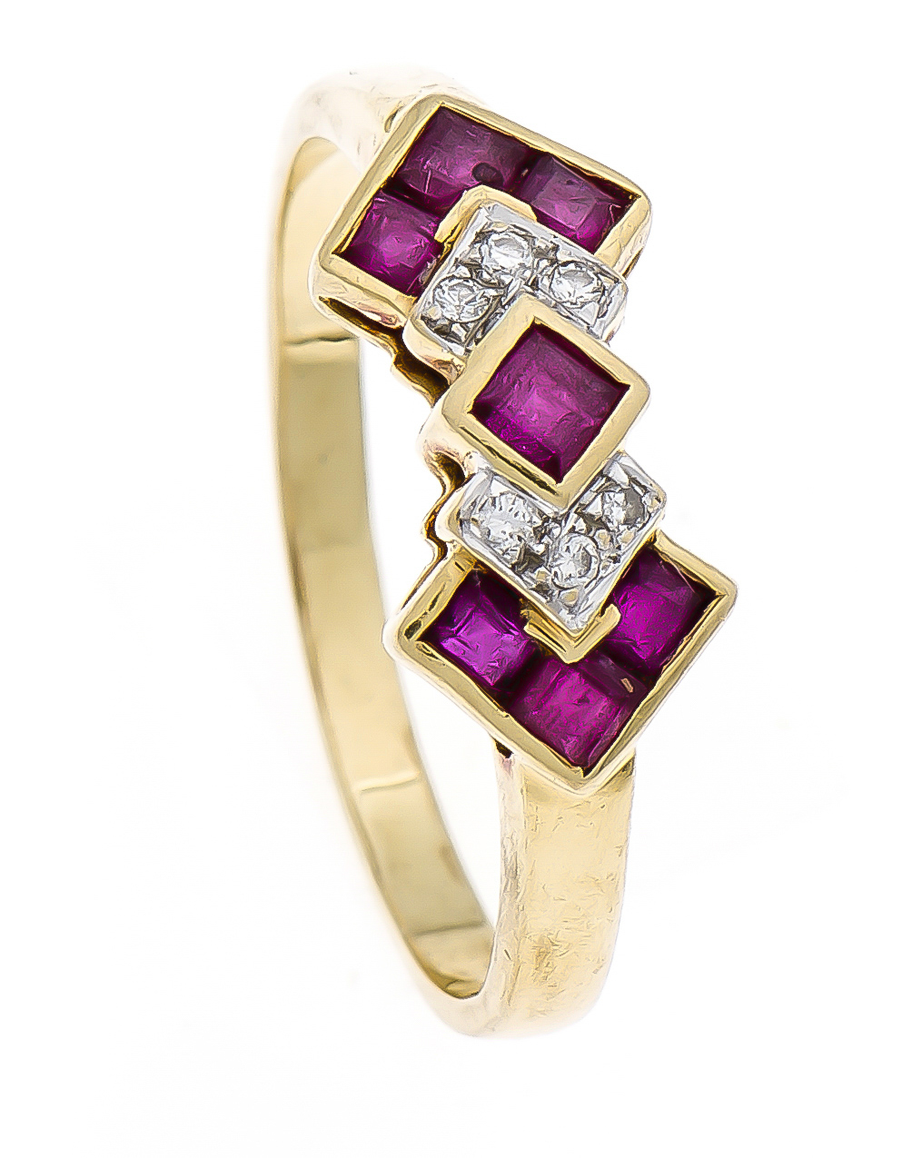 Rubin-Brillant-Ring GG/WG 750/000 mit fac