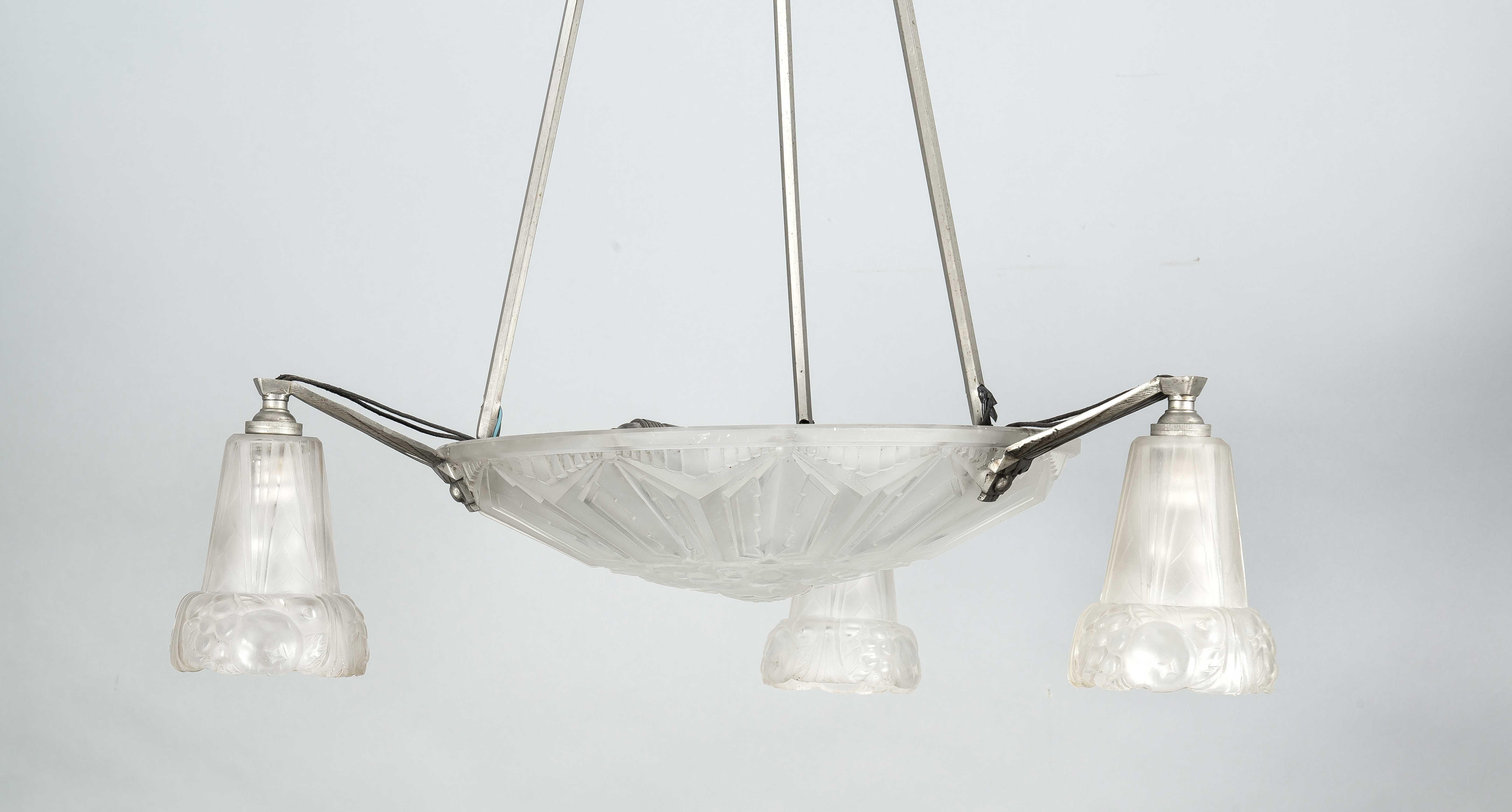 Art-Déco-Deckenlampe, Frankreich um 1920, 4-flg