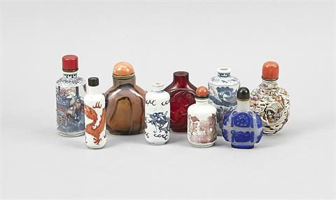 9 Snuffbottles, China, 18